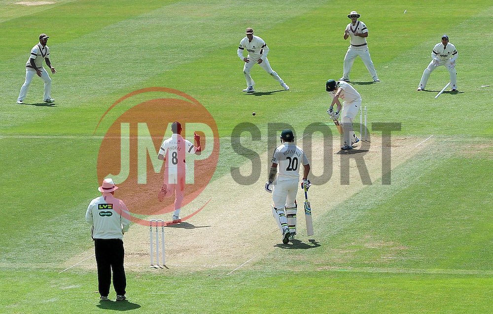 Nottinghamshire's Matt Carter is bowled by Somerset's Alfonso Thomas. - Photo mandatory by-line: Harry Trump/JMP - Mobile: 07966 386802 - 15/06/15 - SPORT - CRICKET - LVCC County Championship - Division One - Day Two - Somerset v Nottinghamshire - The County Ground, Taunton, England.