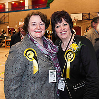 Picture by Christian Cooksey/CookseyPix.com. Standard repro rate applies for use online or in print.<br /> <br /> UK Parliamentary General Election 7th May 2015. The count and declaration at the Citadel Lesuire Centre, Ayr for the constituencies of Central Ayrshire and Ayr, Carrick and Cumnock.<br /> <br /> Dr Philippa Whitford, the SNP candidate for Central Ayrshire constituency (left) and Corri Wilson the SNP candidate for Ayr, carrick and Cumnock are all smiles after early indications are they will take both seats from Scottish Labour, deposing Labour stalwarts Sandra Osborne and Brian Donohoe