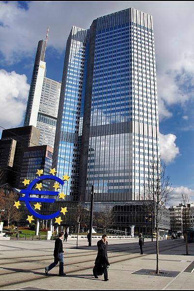 Duitsland, Frankfurt, 10-3-2008..Kantoor van de europese centrale bank. Met zijn vele banken en de europese centrale bank, ecb, is frankfurt het financiele centrum van europa...Foto: Flip Franssen