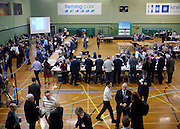 © Licensed to London News Pictures. 28/02/2013. Eastleigh, UK  The count begins in the early hours of the morning  at Fleming Park Leisure Centre in Eastleigh on the night of the count. Campaigning in the weeks ahead of The Liberal Democrats winning the Eastleigh by-election, with the UK Independence Party pushing the Conservatives into third place.. Photo credit : Stephen Simpson/LNP