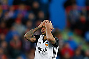 Valencia's Italian forward Simone Zaza gestures during the Spanish Championship Liga football match between Getafe CF and Valencia CF on December 3, 2017 at the Coliseum Alfonso Perez in Getafe near Madrid, Spain - Photo Benjamin Cremel / ProSportsImages / DPPI