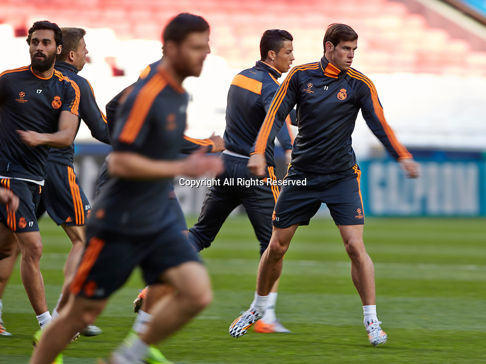 23.05.2014, Lisbon, Portugal. Real Madrid Players train during the Real Madrid training session prior to the UEFA Champions League final between Real Madrid and Atletico Madrid at Sport Lisboa e Benfica Stadium, Lisbon, Portugal
