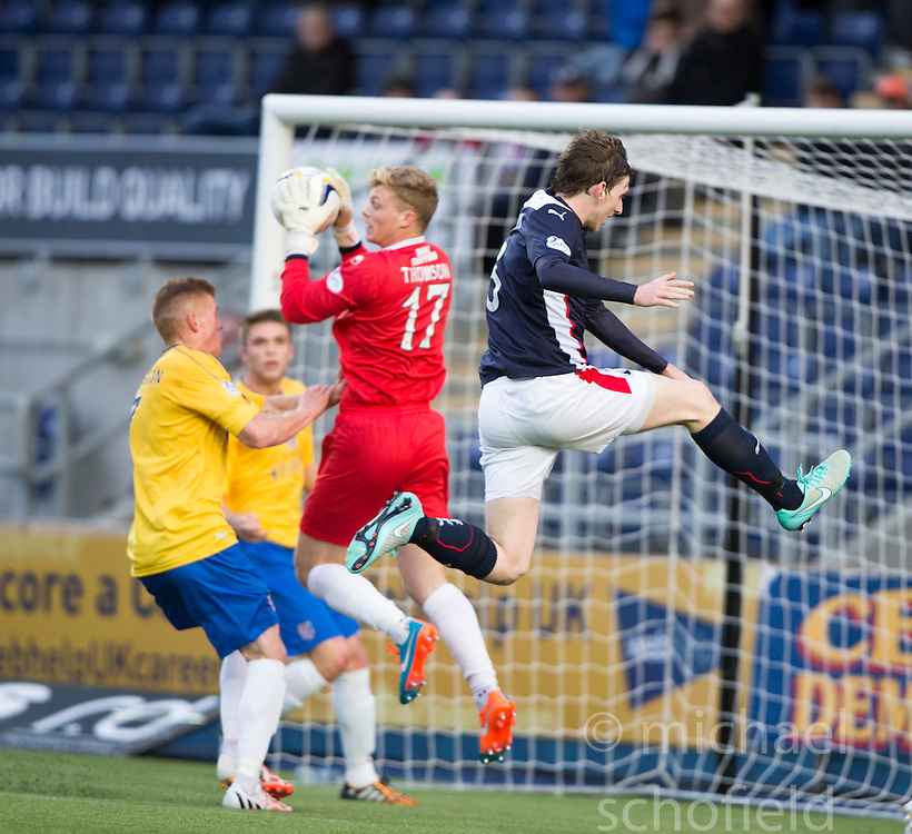 Cowdenbeath's keeper Robbie Thomson and Falkirk's Blair Alston.<br /> Falkirk 6 v 0 Cowdenbeath, Scottish Championship game played at The Falkirk Stadium, 25/10/2014.