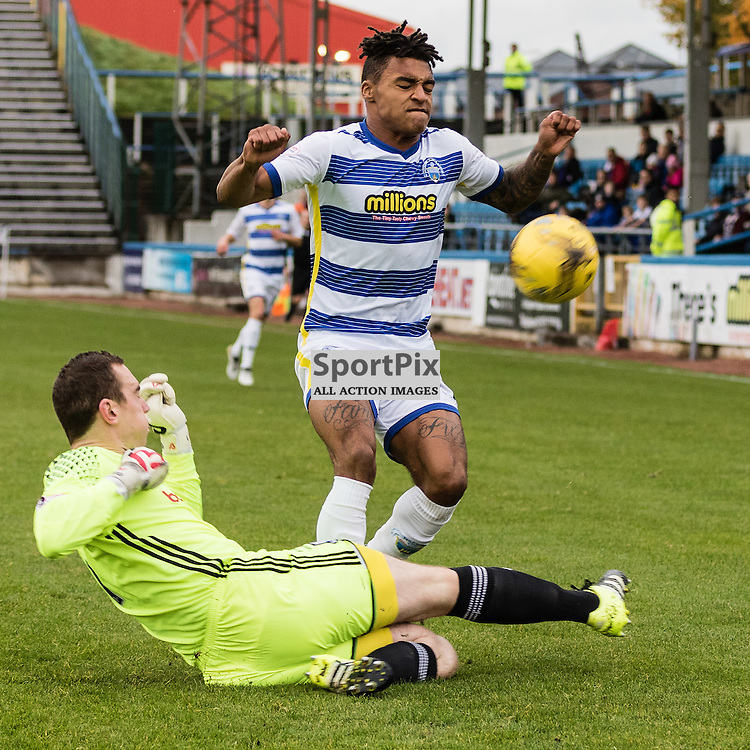 Greg Fleming (1) of Ayr United challenges Jai Quitongo (24) of Greenock Mortonduring the Scottish Championship game between Greenock Morton and Ayr United at Cappielow Park on 29th October, 2016 in Greenock, Scotland.   (c) BERNIE CLARK | SportPix.org.uk