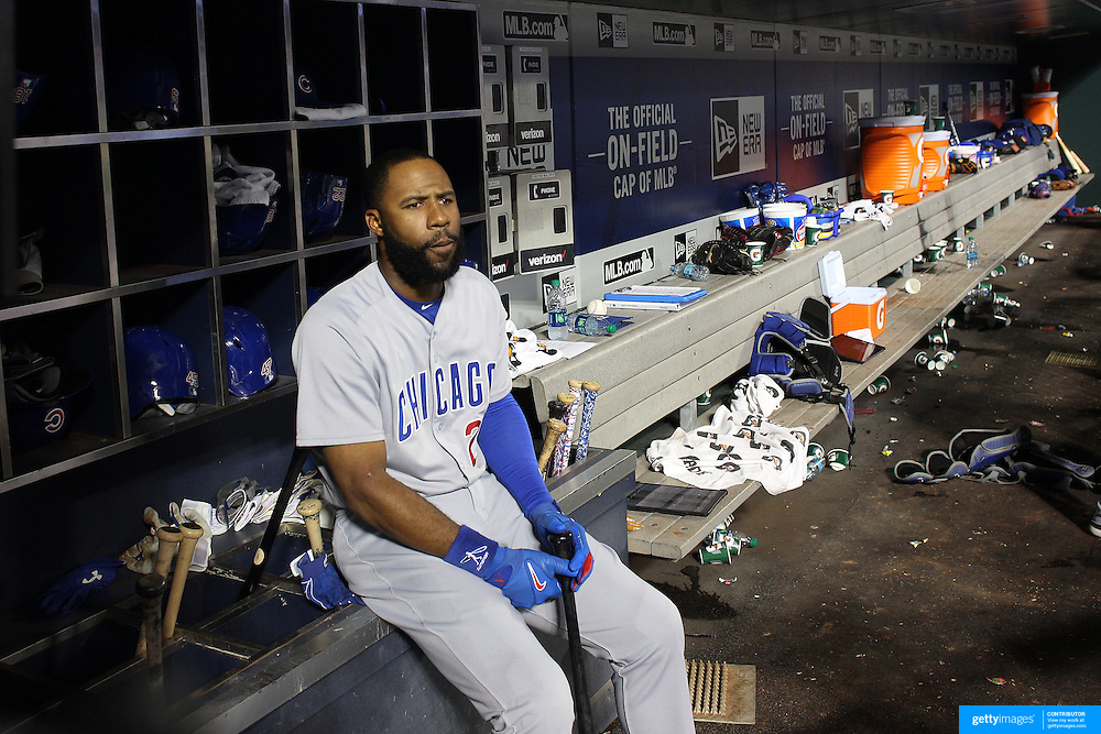 NEW YORK, NEW YORK - June 30: Jason Heyward #22 of the Chicago Cubs in the dugout waiting to bat during the Chicago Cubs Vs New York Mets regular season MLB game at Citi Field on June 30, 2016 in New York City. (Photo by Tim Clayton/Corbis via Getty Images)