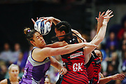 Temalisi Fakahokotau of the Tactix clashes with Maia Wilson of the Stars going for the rebound. 2017 ANZ Premiership netball match, Northern Stars v Mainland Tactix at the Vodafone Events Centre, Auckland, New Zealand. 4 June 2017 © Copyright Photo: Anthony Au-Yeung / www.photosport.nz