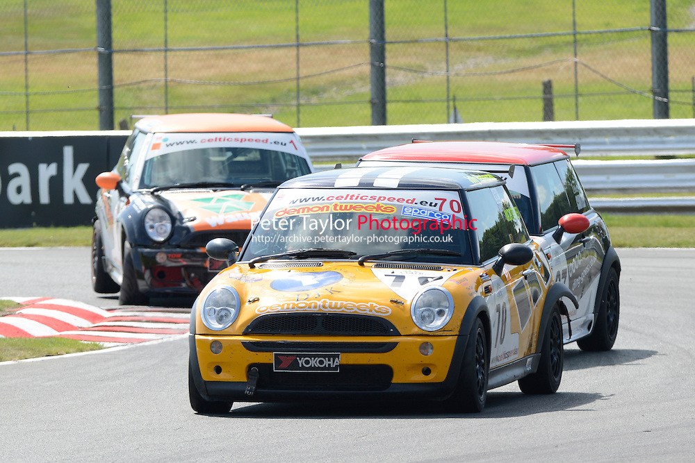 #70 Oliver Mortimer Mini Cooper during Celtic Speed Scottish Mini Cooper Cup - Race 1 as part of the Mini Festival  at Oulton Park, Little Budworth, Cheshire, United Kingdom. August 08 2015. World Copyright Peter Taylor. Copy of publication required for printed pictures.  Every used picture is fee-liable. http://archive.petertaylor-photographic.co.uk