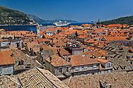 Cruise ship docked in the historic harbor of Dubrovnik, Croatia along the Adriatic Sea in southern Croatia.