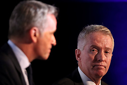 ATP Executive Chairman & President, Chris Kermode (left) Tennis Australia CEO, Craig Tiley speaks during the ATP Team Competition Announcement during day five of the Nitto ATP Finals at The O2 Arena, London. PRESS ASSOCIATION Photo. Picture date: Thursday November 15, 2018. See PA story TENNIS London. Photo credit should read: John Walton/PA Wire. RESTRICTIONS: Editorial use only, No commercial use without prior permission.