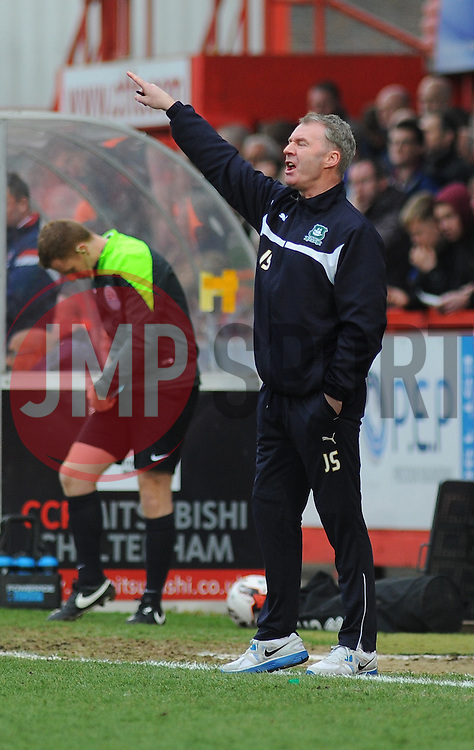 Plymouth Argyle Manager, John Sheridan gives orders from the side line- Photo mandatory by-line: Nizaam Jones - Mobile: 07966 386802 - 28/03/2015 - SPORT - Football - Cheltenham - Whaddon Road - Cheltenham Town v Plymouth Argyle - Sky Bet League Two
