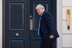 London, UK. 23 July, 2019.  Boris Johnson arrives at the headquarters of the Conservative Party following the announcement that he had been elected as the party leader and would replace Theresa May as Prime Minister.