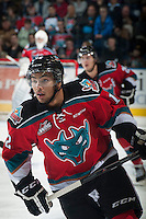 KELOWNA, CANADA - OCTOBER 25: Tyrell Goulbourne #12 of Kelowna Rockets skates against the Brandon Wheat Kings on October 25, 2014 at Prospera Place in Kelowna, British Columbia, Canada.  (Photo by Marissa Baecker/Shoot the Breeze)  *** Local Caption *** Tyrell Goulbourne;
