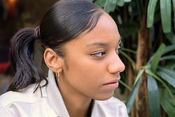 Portrait of teenage girl looking serious,