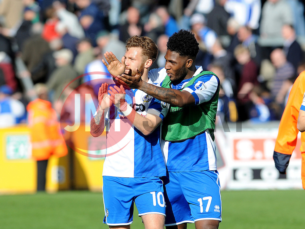 Bristol Rovers' Matty Taylor, Bristol Rovers' Ellis Harrison - Photo mandatory by-line: Neil Brookman/JMP - Mobile: 07966 386802 - 11/04/2015 - SPORT - Football - Bristol - Memorial Stadium - Bristol Rovers v Southport - Vanarama Football Conference