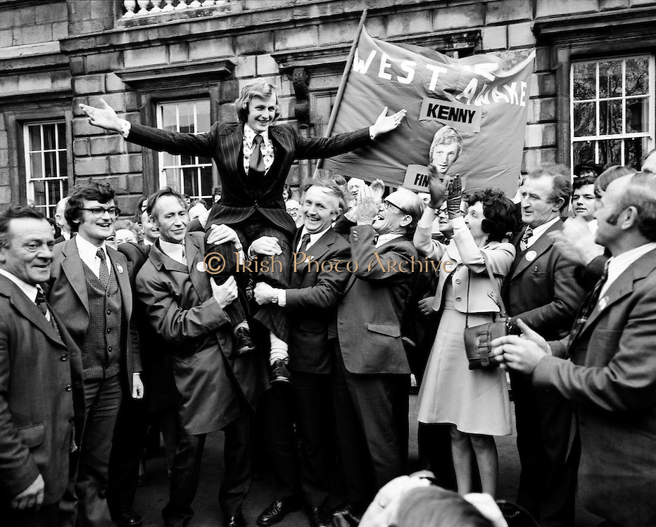 The Wests Awake! Supporters carry the new Fine gael Deputy for West Mayo, Enda Kenny, shoulder-high on his first day in Dail Eireann. Enda Kenny would become Taoiseach in 2011.<br /> 18/11/1975
