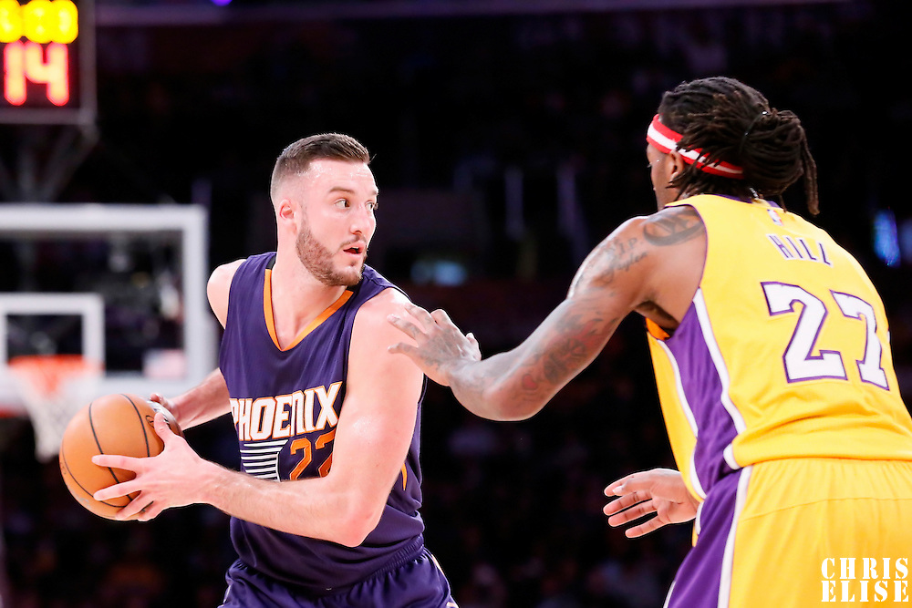 04 November 2014: Phoenix Suns center Miles Plumlee (22) looks to pass the ball during the Phoenix Suns 112-106 victory over the Los Angeles Lakers, at the Staples Center, Los Angeles, California, USA.