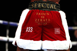 Close up of Kell Brook's shorts during the Final Eliminator WBA Super-Welterweight Championship at the FlyDSA Arena, Sheffield.