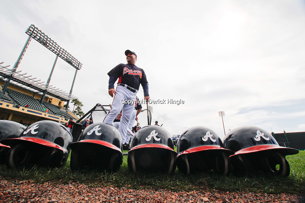 March 5, 2011; Lake Buena Vista, FL, USA; Atlanta Braves manager Fredi Gonzalez (33) walks around during batting practice before a spring training exhibition game against the New York Mets at Disney Wide World of Sports complex. Mandatory Credit: Derick E. Hingle-US PRESSWIRE