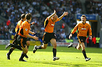 Photo. Aidan Ellis,  Digitalsport<br /> Bloton Wanderers v Wolverhampton Wanderers.<br /> FA Barclaycard Premiership.<br /> 27/09/2003.<br /> Wolves Alex Rae celebrates his goal