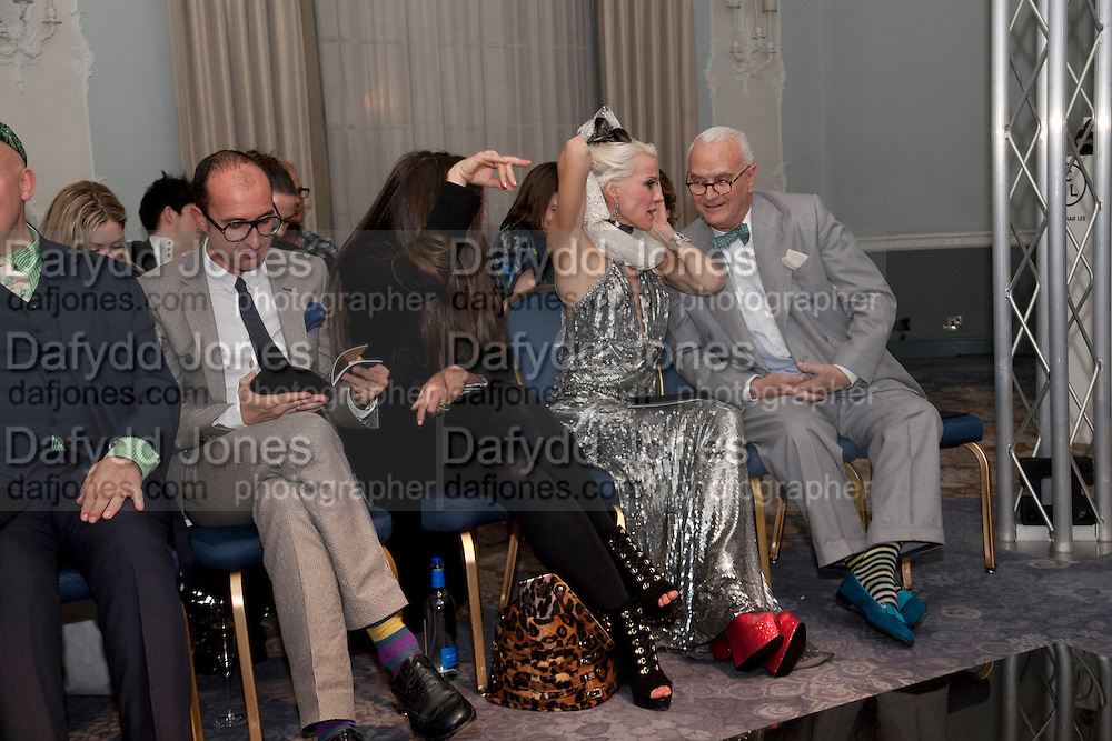 AMONGST THE JUDGES- GIANLUCA LONGO; ELIZABETH SALTZMAN; DAPHNE GUINNESS; MANOLO BLAHNIK, The Dorchester Collection fashion prize.  Dorchester Hotel. London. 19 October 2010. ends at 8 p.m. competition. rsvp's to Jackie-DO NOT ARCHIVE-© Copyright Photograph by Dafydd Jones. 248 Clapham Rd. London SW9 0PZ. Tel 0207 820 0771. www.dafjones.com.
