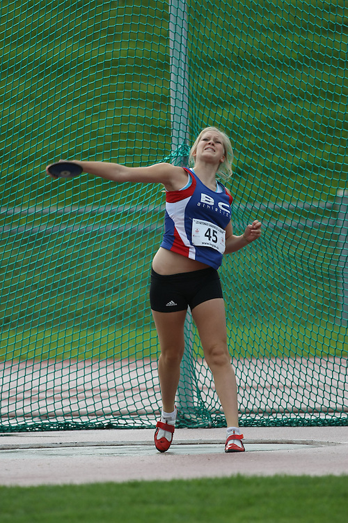 (Sherbrooke, Quebec---10 August 2008) Selina Byer competing in the youth girls discus at the 2008 Canadian National Youth and Royal Canadian Legion Track and Field Championships in Sherbrooke, Quebec. The photograph is copyright Sean Burges/Mundo Sport Images, 2008. More information can be found at www.msievents.com.