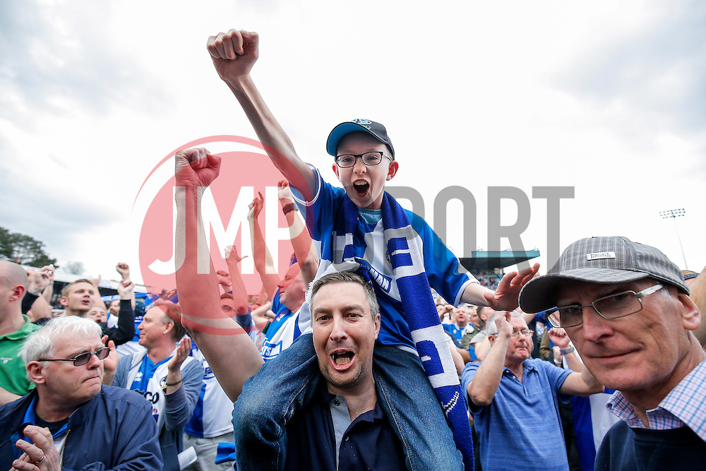 Bristol Rovers celebrate after Bristol Rovers win the match in injury time to secure 3rd place in League 2, back to back promotions and a place in Sky Bet League 1 for 2016/17 - Mandatory byline: Rogan Thomson/JMP - 08/03/2016 - FOOTBALL - Memorial Stadium - Bristol, England - Bristol Rovers v Dagenham & Redbridge - Sky Bet League 2.