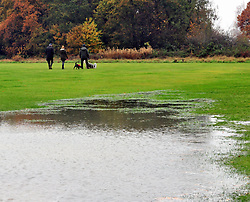 © Licensed to London News Pictures. 20/11/2016<br /> Flooded field.<br /> Rain, winds and flood conditions from Storm Angus this morning at Chislehurst and West Kent cricket ground field, Watts Lane, Chislehurst,Kent.<br /> <br /> Photo credit :Grant Falvey/LNP