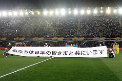 17.03.2011, El Madrigal, Villarreal, ESP, UEFA EL, FC Villarreal vs Bayer 04 Leverkusen, im Bild Villareal's players and Bayer 04 Leverkusen's players during the minute's silence in memory of earthquake victims in Japan during UEFA Europa League match.March 17,2011. . EXPA Pictures © 2011, PhotoCredit: EXPA/ Alterphotos/ Acero +++++ ATTENTION - OUT OF SPAIN / ESP +++++