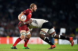 Chris Robshaw of England is tackled - Mandatory byline: Patrick Khachfe/JMP - 07966 386802 - 18/09/2015 - RUGBY UNION - Twickenham Stadium - London, England - England v Fiji - Rugby World Cup 2015 Pool A.
