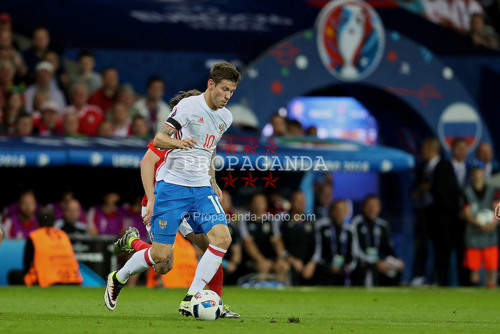 TOULOUSE, FRANCE - Monday, June 20, 2016: Russia's Fedor Smolov in action against Wales during the final Group B UEFA Euro 2016 Championship match at Stadium de Toulouse. (Pic by David Rawcliffe/Propaganda)