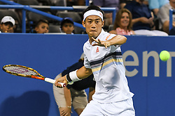 August 1, 2018 - Washington, D.C, U.S - KEI NISHIKORI hits a forehand during his 2nd round match at the Citi Open at the Rock Creek Park Tennis Center in Washington, D.C. (Credit Image: © Kyle Gustafson via ZUMA Wire)
