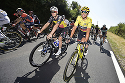July 14, 2018 - Amiens Metropole, FRANCE - Belgian Yves Lampaert of Quick-Step Floors and Belgian Greg Van Avermaet of BMC Racing pictured in action during the eighth stage of the 105th edition of the Tour de France cycling race, from Dreux to Amiens Metropole (181 km), in France, Saturday 14 July 2018. This year's Tour de France takes place from July 7th to July 29th. BELGA PHOTO YORICK JANSENS (Credit Image: © Yorick Jansens/Belga via ZUMA Press)