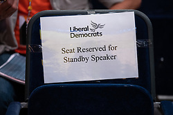 © Licensed to London News Pictures . 16/09/2019. Bournemouth, UK. SEAT RESERVED FOR STANDBY SPEAKER sign in the auditorium during the Liberal Democrat Party Conference at the Bournemouth International Centre . Photo credit: Joel Goodman/LNP