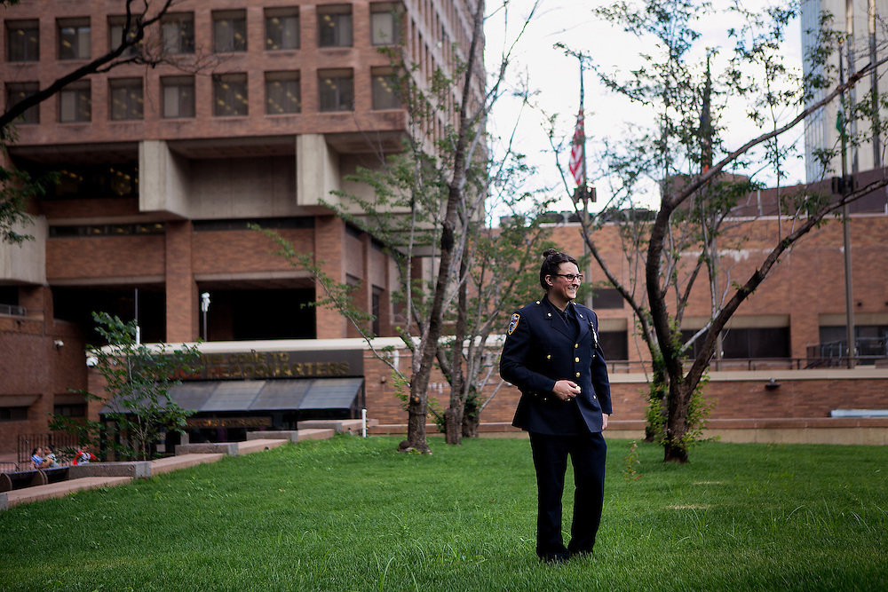 NEW YORK, NY - JUNE 22, 2016: NYPD police officer Aiden Budd poses for a portrait near One Police Plaza in New York, New York. CREDIT: Sam Hodgson for The New York Times.