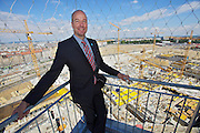 Mag. Sigi Herzog, Project Coordinator of the entire Vienna Central Station construction, enjoys an overview of the site from the top of BAHNORAMA tower..Opening Day of the BAHNORAMA, an exhibition about Vienna's new Central Railway Station developed by RAHM architects. It features a 66 meters high wooden tower offering a superb view over the nearby giant construction site.