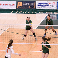 2nd year setter Satomi Togawa (5) of the Regina Cougars in action during Women's Volleyball home game on January 13 at Centre for Kinesiology, Health and Sport. Credit: Arthur Ward/Arthur Images 2018