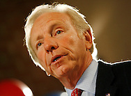 TEST.U.S. Senator Joe Lieberman (D-CT) speaks to employees of Northeast Utilities at a campaign stop at in Berlin, Connecticut November 6, 2006.  REUTERS/Andrew Gombert  (UNITED STATES)<br />