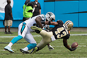 Marcus Williams(43) makes a one handed interception in the New Orleans Saints 34 to 13 victory over the Carolina Panthers.