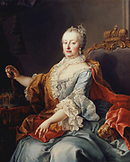 Maria Theresa (1717-1780), archduchess of Austria, Holy Roman Empress, and Queen of Hungary and Bohemia, began her rule in 1740. She was the only woman ruler in the 650 history of the Habsburg dynasty.   She was also one of the most successful Habsburg rulers, male or female, while bearing sixteen children between 1738 and 1756. She died in 1780