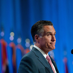 RENO, NV - SEPTEMBER 11:  Republican presidential candidate, former Massachusetts Gov. Mitt Romney addresses the crowd at the 134th National Guard Association Convention in Reno, Nev. at the Reno-Sparks Convention Center, Tuesday, Sept. 11, 2012.  (Photo by David Calvert/Getty Images)