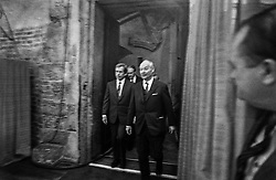 Vladislav Hall, Prague Castle, 29 December 1989<br /> Accompanied by the Speaker of the Federal Assembly, Alexander Dubček, and the Czechoslovak Prime Minister, Mari&aacute;n Čalfa, arriving at the swearing-in ceremony of the President of Czechoslovakia.