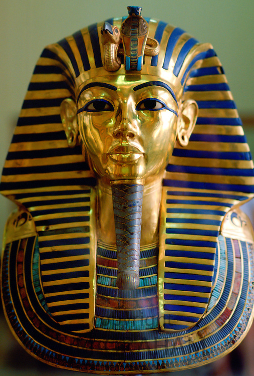 Gold  mask of the face of King Tutankhamun in the Cairo Museum in Egypt.