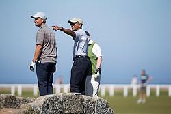 Former US president Barack Obama on the Swilcan Bridge, or Swilken Bridge, the famous small stone bridge in St Andrews Links golf course, Scotland.