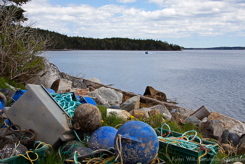 North America, Canada, Nova Scotia, Ship Harbour. Bouys at a Mussel Farm.