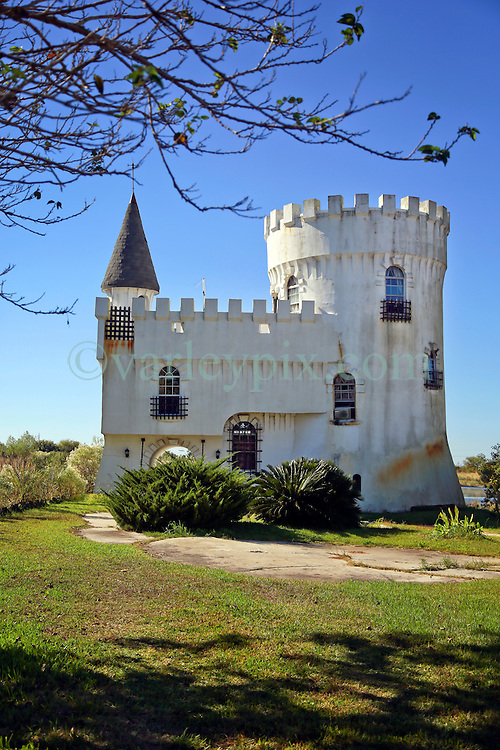 03 November 2013. Irish Bayou, Louisiana.<br /> Fisherman's Castle, an unusual fishing camp on US-11. A never-completed minor tourist attraction resembling small-scale medieval castle was built for the 1984 New Orleans World's Fair. <br /> Photo; Charlie Varley<br /> varleypix.com