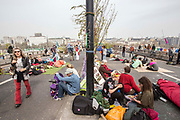 UNITED KINGDOM, London: 16 April 2019 <br /> Extinction Rebellion protests continue on Waterloo Bridge today. It is the second day of protests that have appeared in five locations across the city. Police officers have made more than 120 arrests in the last 24 hours.<br /> Rick Findler / Story Picture Agency