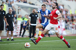 Peterborough United's Daniel Kearns in action with Rotherham United's Craig Morgan - Photo mandatory by-line: Joe Dent/JMP - Tel: Mobile: 07966 386802 28/09/2013 - SPORT - FOOTBALL - New York Stadium - Rotherham - Rotherham United V Peterborough United - Sky Bet One