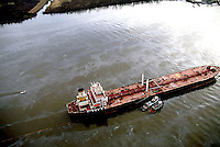 Aerial view Athos I Crude Tanker after oil spill on Delaware River.