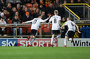 30th November 2018, Tannadice Park, Dundee, Scotland; Scottish Championship football, Dundee United versus Ayr United; Lawrence Shankland of Ayr United celebrates after scoring for 1-0 in the 4th minute