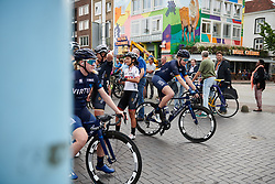 Eri Yonamine (JPN) and Mieke Kröger (GER) at in the melee for sign on at Boels Ladies Tour 2018 - Stage 2, a 137.9km road race in Nijmegen, Netherlands on August 29, 2018. Photo by Sean Robinson/velofocus.com